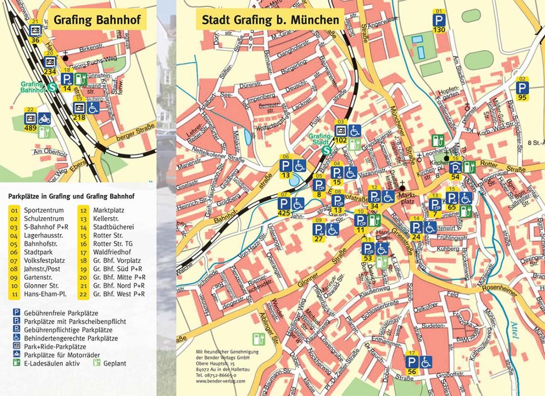 Stadtplan mit markierten Parkplätzen in der Stadt Grafing